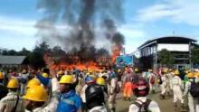 Aksi Demo Buruh Ricuh, Ribuan Karyawan PT IWIP di Maluku Utara Bakar-bakaran dan Menjarah