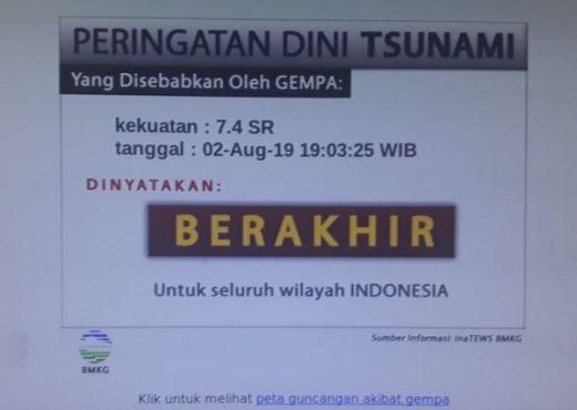 Peringatan Dini Tsunami Gempa Banten Dinyatakan Berakhir