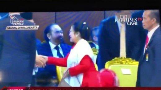 Momen Megawati Melengos Tak Salami Surya Paloh Saat Pelantikan DPR