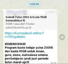 Ingat Ya, Informasi Subsidi Pulsa 200 Ribu dan Kuota 95 GB dari Kemendikbud Hoax
