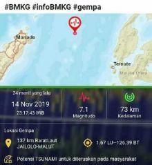 Warga Pesisir Kota Bitung Mengungsi Akibat Gempa Maluku dan Manado