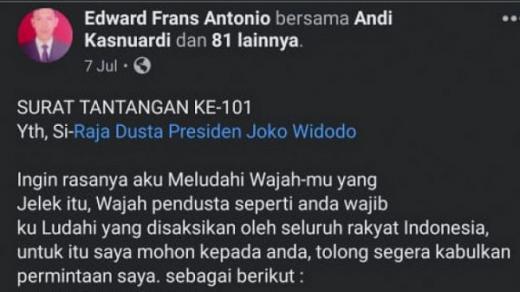 Tantang Ingin Ludahi Jokowi, Pemilik Akun Facebook Ditangkap