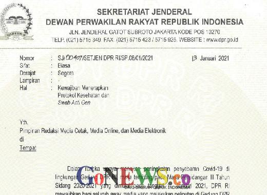 DPR Wajibkan Peliput Tunjukkan Dokumen Swab Antigen