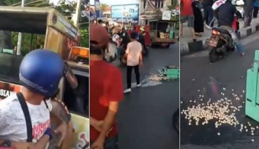 Kang Cilok Ngamuk Gara-gara Gerobaknya Diangkut, Oknum Satpol PP Siantar Nyaris Dimassa