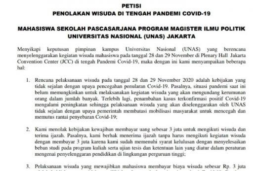 Tolak Aturan Wisuda, Mahasiswa Magister Ilmu Politik UNAS Jakarta Dorong Kampus Buka Dialog