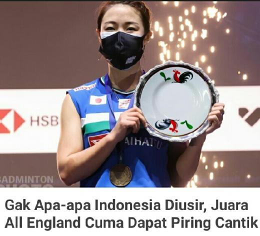 Bikin Ngakak, Netizen Indonesia Sebut Juara All England 2021 Cuma Dapat Piring Cantik