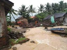 Banjir Bandang Terjang Tanggamus, Puluhan Rumah Porak Poranda