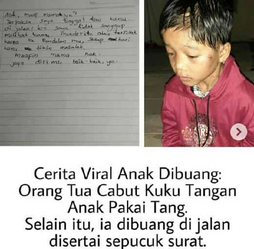 Cerita Viral Anak Dibuang Dengan Sepucuk Surat, Orangtua Cabut Kuku Tangan Anak Pakai Tang