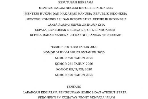 Pemerintah Diminta Taat Konstitusi soal FPI